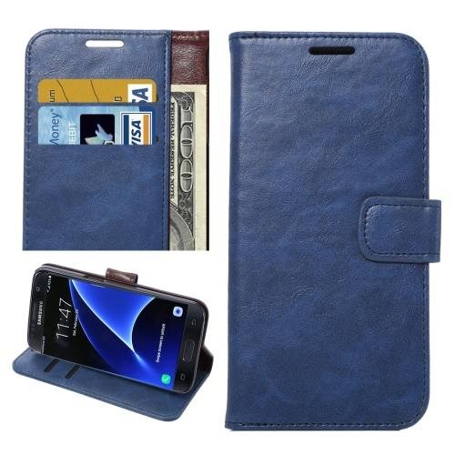 For Galaxy S7 Blue Crazy Horse Leather Case with Holder, Wallet & Card Slots