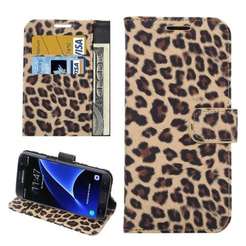 For Galaxy S7 Yellow Leopard Leather Case with Holder, Wallet & Card Slots