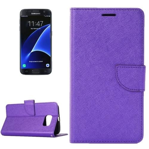 For Galaxy S7 Purple Cross Leather Case with Holder, Wallet & Card Slots