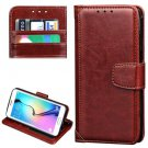 For Galaxy S7 Brown Crazy Horse Leather Case with Wallet & Photo Frame