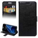 For Galaxy S7 Black Lambskin Leather Case with Card Slots & Lanyard