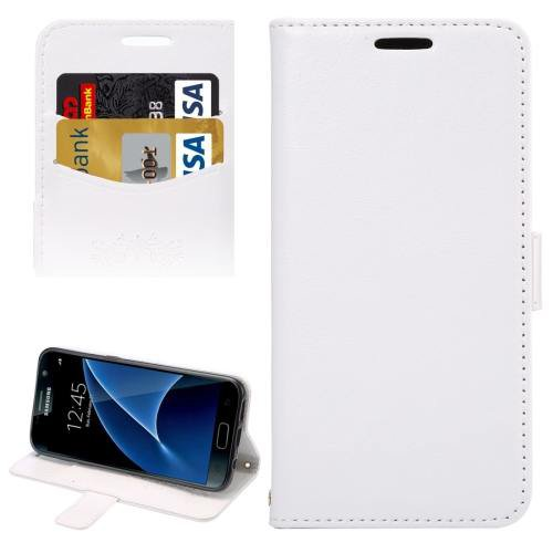 For Galaxy S7 White Lambskin Leather Case with Card Slots & Lanyard