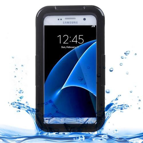 For Galaxy S7 IPX8 Black Transparent Waterproof Protective Case with Lanyard