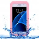 For Galaxy S7 IPX8 Pink Transparent Waterproof Protective Case with Lanyard