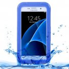 For Galaxy S7 IPX8 Blue Transparent Waterproof Protective Case with Lanyard