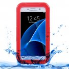 For Galaxy S7 IPX8 Red Transparent Waterproof Protective Case with Lanyard