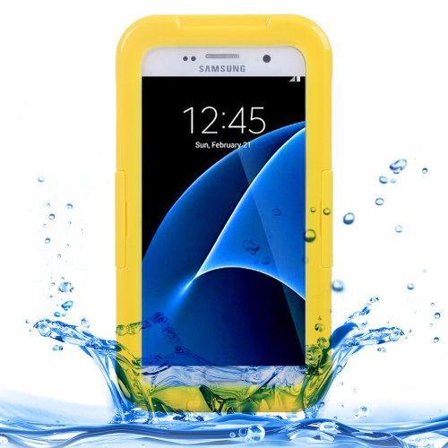 For Galaxy S7 IPX8 Yellow Transparent Waterproof Protective Case with Lanyard