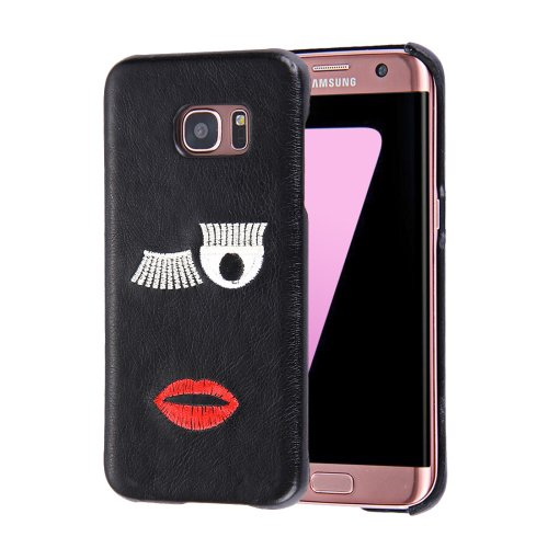 For Galaxy S7 Oil skin Embroidery Mouth Pattern PU Paste Skin PC Case