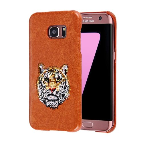 For Galaxy S7 Oil skin Embroidery Tiger Pattern PU Paste Skin PC Case