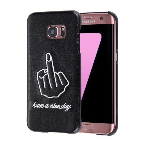 For Galaxy S7 Oil skin Embroidery Finger Pattern PU Paste Skin PC Case