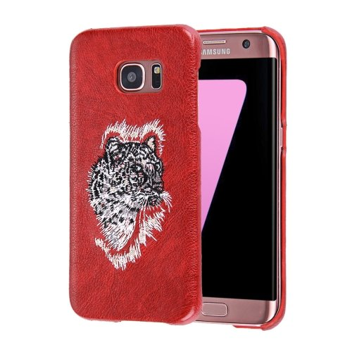 For Galaxy S7 Oil skin Embroidery Leopard Pattern PU Paste Skin PC Case