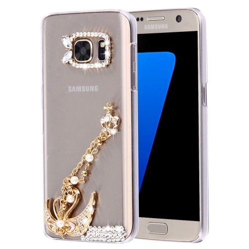 For Galaxy S7 Diamond Encrusted Pearl Swan Pattern Plastic Case
