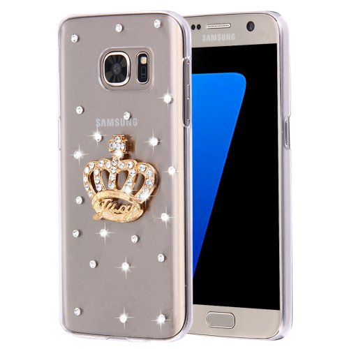 For Galaxy S7 Diamond Encrusted Pearl Crown Pattern Plastic Case