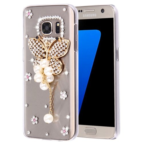 For Galaxy S7 Diamond Encrusted Pearl Butterfly Pattern Plastic Case