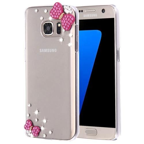 For Galaxy S7 Diamond Encrusted Pearl Bowknot Pattern Plastic Case
