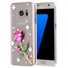 For Galaxy S7 Diamond Encrusted Pearl Rose Pattern Plastic Case