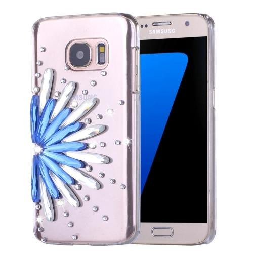 For Galaxy S7 Diamond Encrusted Flower Pattern PC Case Back Cover