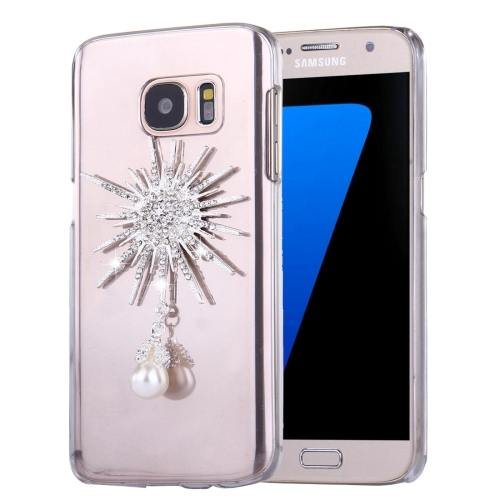 For Galaxy S7 Diamond Encrusted Sunflower Pattern PC Case Back Cover