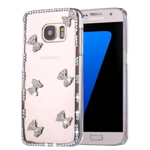 For Galaxy S7 Diamond Encrusted Bowknots Pattern PC Case Back Cover