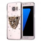 For Galaxy S7 Diamond Encrusted Leopard Pattern PC Case Back Cover