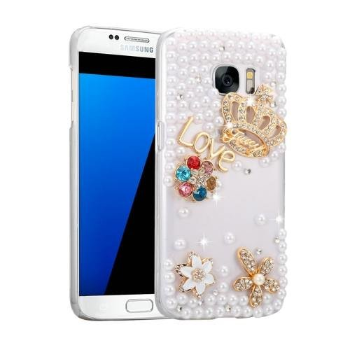 For Galaxy S7 Fevelove Diamond Incrusted Crown Pattern PC Case Back Cover