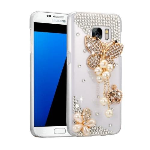 For Galaxy S7 Fevelove Diamond Incrusted Butterfly Pattern PC Case Back Cover