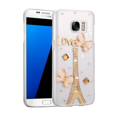For Galaxy S7 Fevelove Diamond Incrusted Tower Pattern PC Case Back Cover