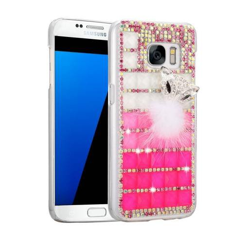 For Galaxy S7 Fevelove Diamond Incrusted Jewel Fox Pattern PC Case Back Cover