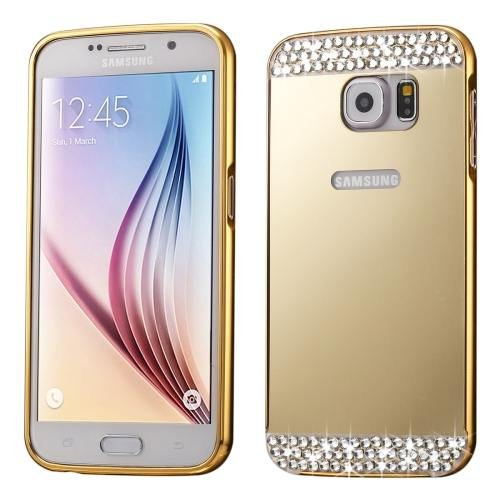 For Galaxy S7 Gold Electroplating Back Shell Cover + Metal Bumper Frame