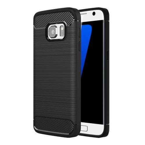 For Galaxy S7 Black Brushed Fiber TPU Rugged Armor Protective Case