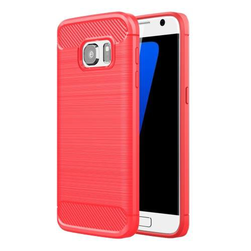 For Galaxy S7 Red Brushed Fiber TPU Rugged Armor Protective Case