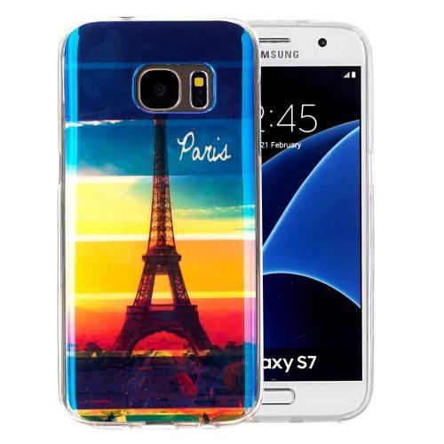 For Galaxy S7 IMD Eiffel Pattern Blu-ray Soft TPU Protective Case