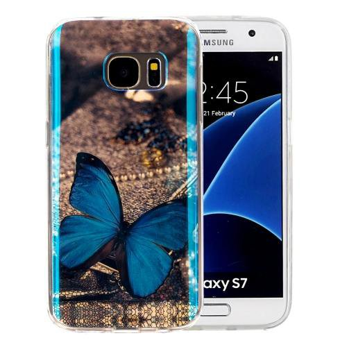 For Galaxy S7 IMD Butterfly Pattern Blu-ray Soft TPU Protective Case