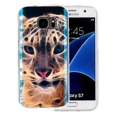 For Galaxy S7 IMD Tiger Pattern Blu-ray Soft TPU Protective Case