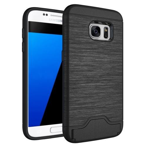 For Galaxy S7 Black TPU + PC Brushed Back Case with Card Slot & Holder