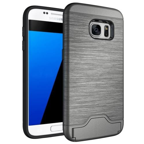 For Galaxy S7 Grey TPU + PC Brushed Back Case with Card Slot & Holder