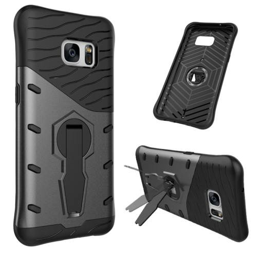 For Galaxy S7 Black Rotating Spin Tough Armor TPU+PC Case with Holder