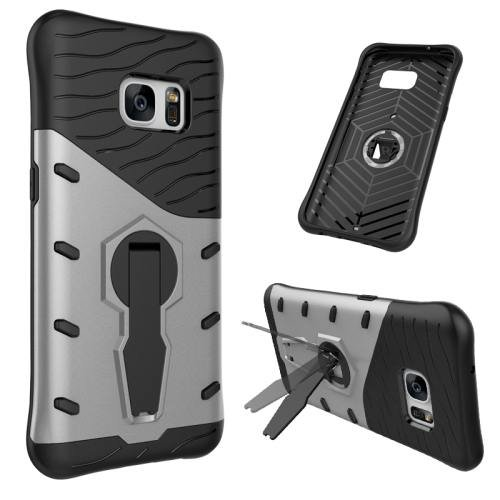 For Galaxy S7 Silver Rotating Spin Tough Armor TPU+PC Case with Holder