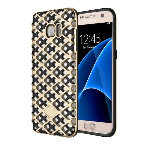For Galaxy S7 Gold URBAN KNIGHT Grid Texture PC + TPU Protective Case