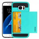 For Galaxy S7 Blue Verus Slide Style TPU + PC Case with Card Slot
