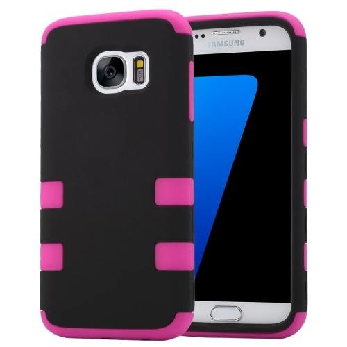 For Galaxy S7 Magenta Shock-resistant Silicone + PC Protective Case