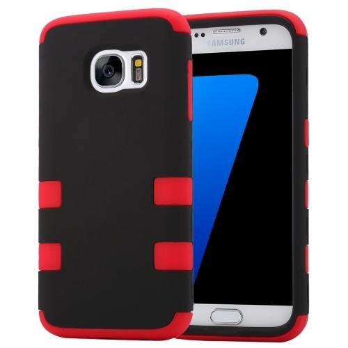 For Galaxy S7 Red Shock-resistant Silicone + PC Protective Case