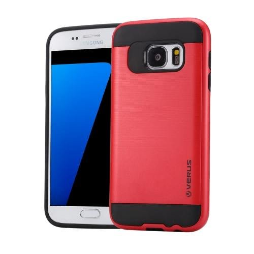 For Galaxy S7 Red Verus Brushed Texture PC + TPU Protective Case
