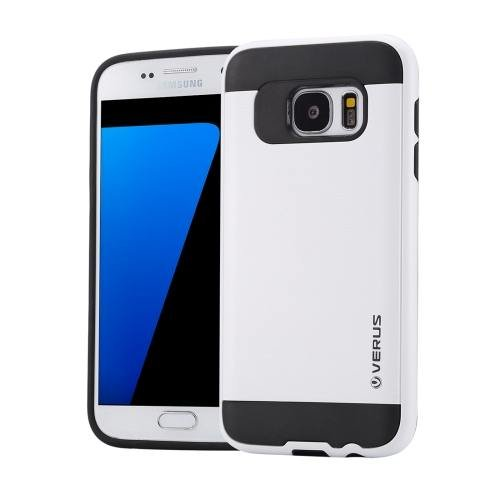 For Galaxy S7 White Verus Brushed Texture PC + TPU Protective Case
