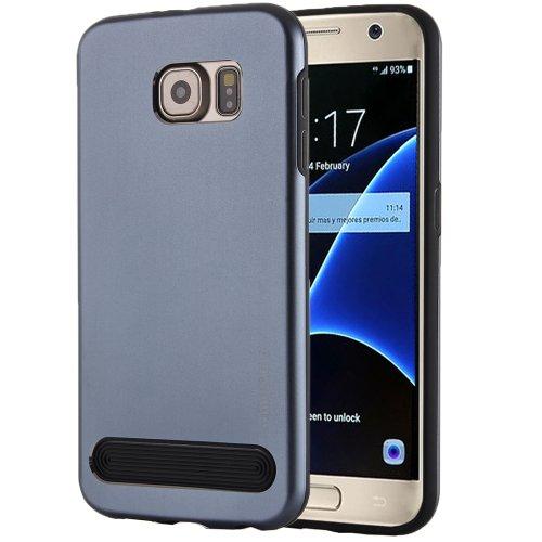 For Galaxy S7 Dark Blue MOTOMO Armor Metal + TPU Protective Case