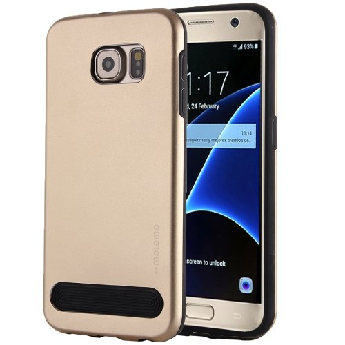 For Galaxy S7 Gold MOTOMO Armor Metal + TPU Protective Case