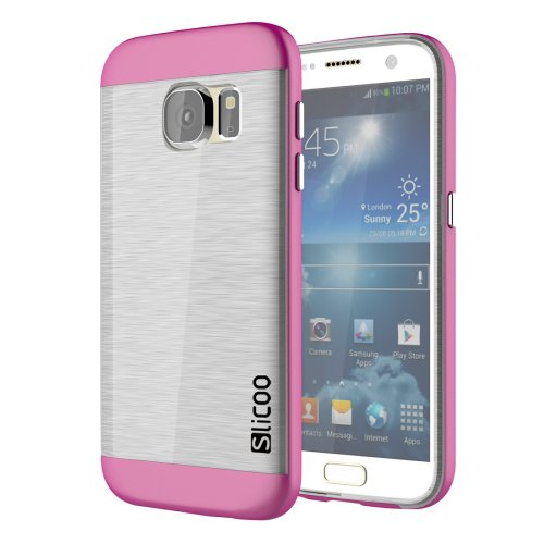 For Galaxy S7 Magenta Slicoo Separable Brushed TPU + Electroplating PC Case