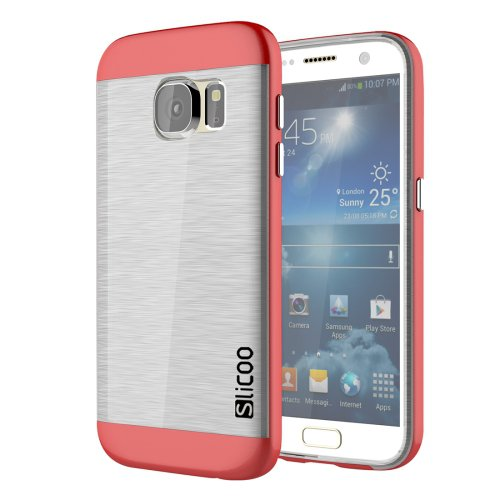 For Galaxy S7 Red Slicoo Separable Brushed TPU + Electroplating PC Case