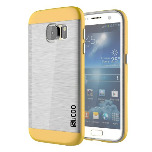 For Galaxy S7 Yellow Slicoo Separable Brushed TPU + Electroplating PC Case