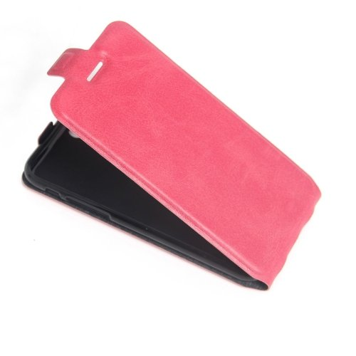 For iPhone 7 Magenta Vertical Flip Leather Case with Card Slot & Photo Frame